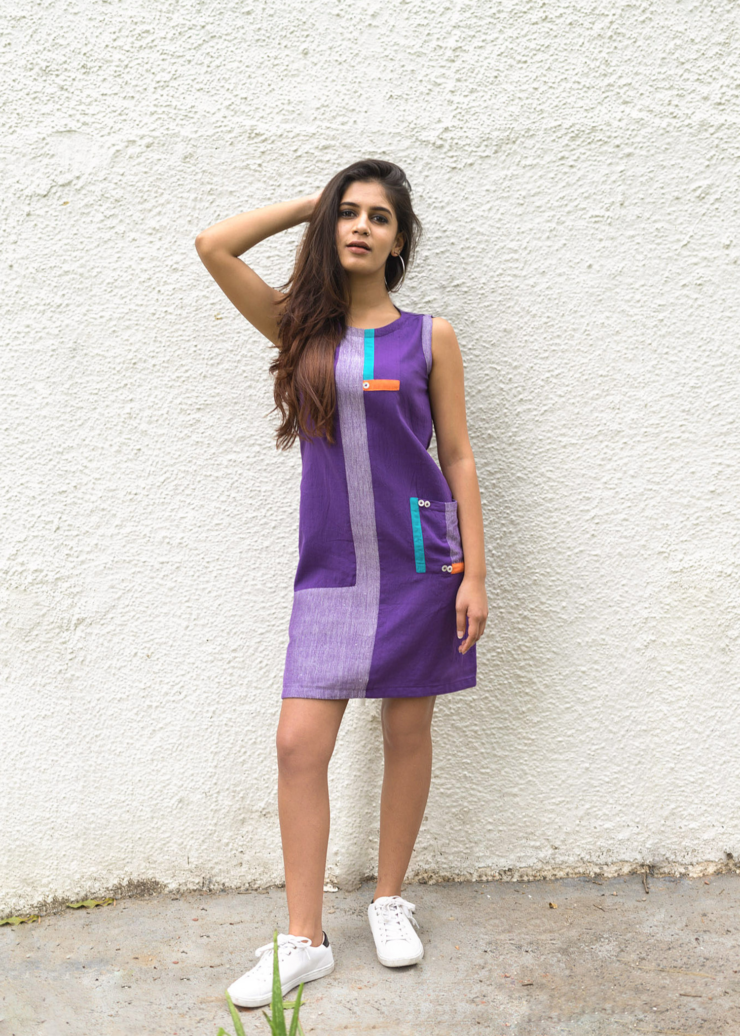 Purple Block Shift Dress